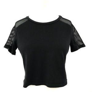 PINK by Victoria's Secret Black Mesh Shoulder Crop